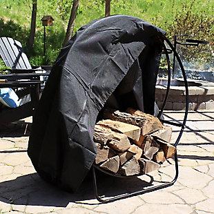 "Sunnydaze 48"" Outdoor Black Steel Firewood Log Hoop and Cover, , rollover"