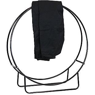 "Sunnydaze 48"" Outdoor Black Steel Firewood Log Hoop and Cover, , large"