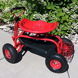 Sunnydaze Outdoor Rolling Garden Cart with Steering Handle, , rollover