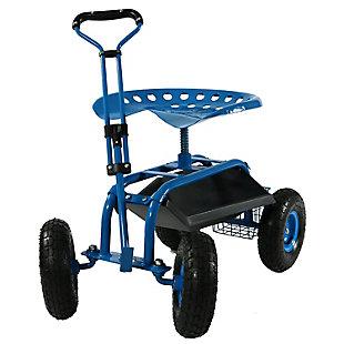 Sunnydaze Outdoor Rolling Garden Cart with Steering Handle, , large