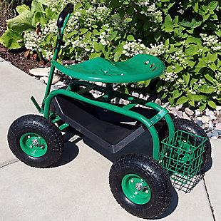 Sunnydaze Outdoor Rolling Garden Cart with Steering Handle, , rollover
