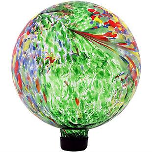 """Sunnydaze 10"""" Outdoor Green Artistic Glass Gazing Ball Globe, , large"""