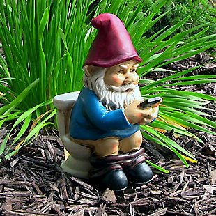 Sunnydaze Outdoor Cody the Gnome Reading Phone on the Throne, , rollover