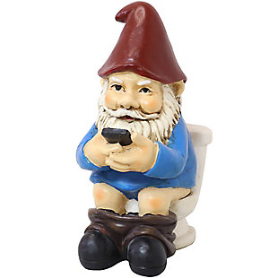 Sunnydaze Outdoor Cody the Gnome Reading Phone on the Throne, , large