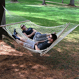 Sunnydaze Outdoor Cotton Spreader Bar Rope Hammock, , rollover