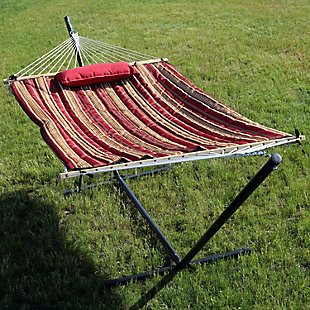Sunnydaze Outdoor Rope Hammock with 12' Stand, , rollover