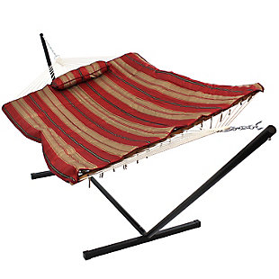 Sunnydaze Outdoor Rope Hammock with 12' Stand, , large