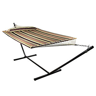 Sunnydaze Outdoor Quilted Hammock with Stand, , rollover