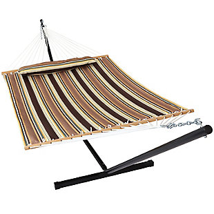 Sunnydaze Outdoor Quilted Hammock with Stand, , large