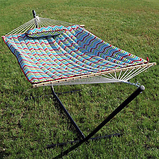 Sunnydaze Outdoor Multi Color Chevron Hammock with 12' Stand, , rollover