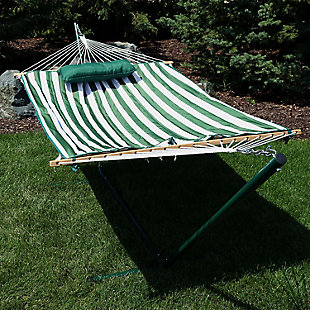 Sunnydaze Outdoor Striped Rope Single Hammock with Stand, , rollover