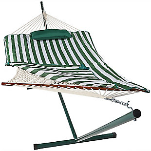 Sunnydaze Outdoor Striped Rope Single Hammock with Stand, , large