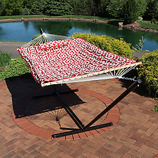 Sunnydaze Outdoor Rope Hammock with Pad, Pillow and 12' Stand, , rollover
