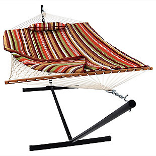 Sunnydaze Outdoor Rope Hammock with Pad, Pillow and 12' Stand, , large