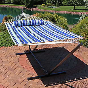 Sunnydaze Outdoor Quilted Hammock with 12' Stand, , rollover