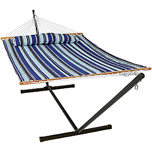 Sunnydaze Outdoor Quilted Hammock with 12' Stand, , large