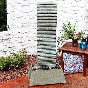 """Sunnydaze 49"""" Outdoor Spiraling Slate Water Fountain with LED, , rollover"""