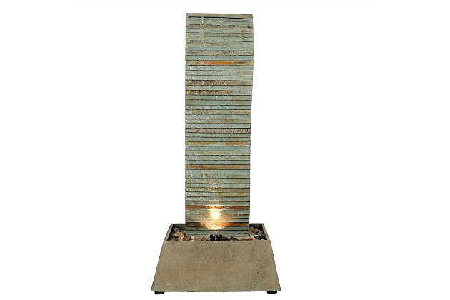 """Sunnydaze 49"""" Outdoor Spiraling Slate Water Fountain with LED, , large"""