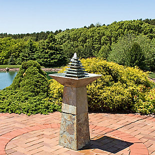 """Sunnydaze 40"""" Outdoor Layered Pyramid Water Fountain with LED, , rollover"""