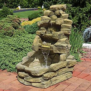 """Sunnydaze 37"""" Outdoor Stone Falls Garden Water Fountain, , rollover"""