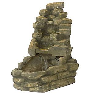 "Sunnydaze 37"" Outdoor Stone Falls Garden Water Fountain, , large"