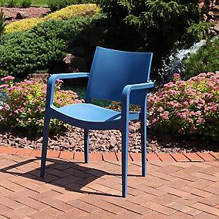 Sunnydaze Landon Outdoor Plastic Dining Armchair, , rollover