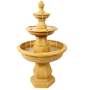 """Sunnydaze 40"""" Outdoor Tropical 3-Tier Garden Water Fountain, , large"""