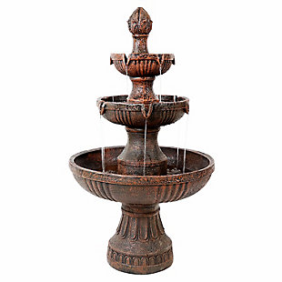 "Sunnydaze 43"" Outdoor Flower Blossom 3-Tier Water Fountain, , large"