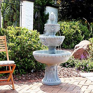 "Sunnydaze 53"" Outdoor 4-Tier Lion Head Water Fountain, , rollover"