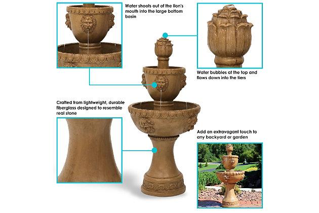"Sunnydaze 41"" Outdoor 2-Tier Contemporary Lion Water Fountain, , large"
