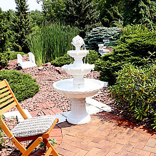 """Sunnydaze 52"""" Outdoor 4-Tier White Water Fountain, , rollover"""