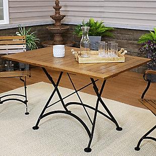 Sunnydaze Outdoor European Chestnut Wood Folding Dining Table, , rollover