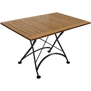 Sunnydaze Outdoor European Chestnut Wood Folding Dining Table, , large