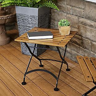 "Sunnydaze 20"" Outdoor Chestnut Wood Folding Square Side Table, , rollover"