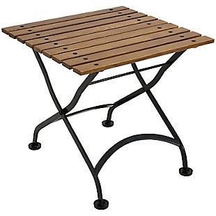 "Sunnydaze 20"" Outdoor Chestnut Wood Folding Square Side Table, , large"