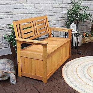 Sunnydaze Outdoor Meranti Wood Storage Bench, , rollover