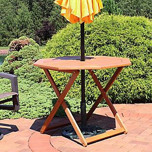 Sunnydaze Outdoor Meranti Wood Octagon Folding Patio Table, , rollover