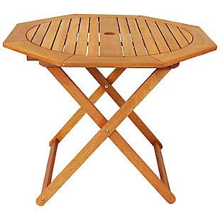 Sunnydaze Outdoor Meranti Wood Octagon Folding Patio Table, , large