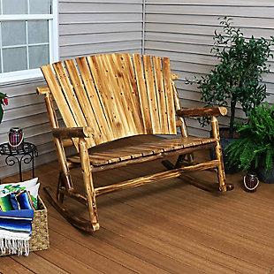 Sunnydaze Outdoor Rustic Wooden Log Cabin Rocking Loveseat, , rollover