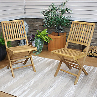 Sunnydaze Outdoor Nantasket Teak Folding Chair with Slat Back (Set of 2), , rollover