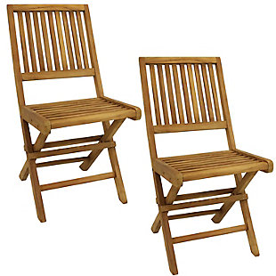 Sunnydaze Outdoor Nantasket Teak Folding Chair with Slat Back (Set of 2), , large