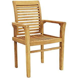 Sunnydaze Outdoor Teak Patio Dining Armchair, , large