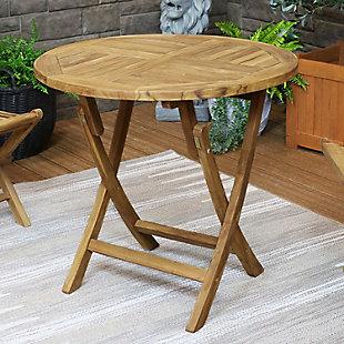 Sunnydaze Outdoor Folding Round Teak Patio Table, , rollover
