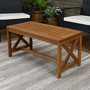 Sunnydaze Outdoor Meranti Wood Patio Coffee Table, , rollover