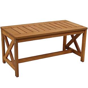 Sunnydaze Outdoor Meranti Wood Patio Coffee Table, , large