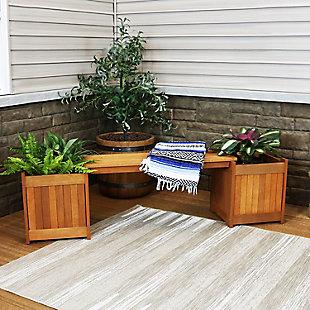 Sunnydaze Outdoor Meranti Wood Planter Box Bench, , rollover