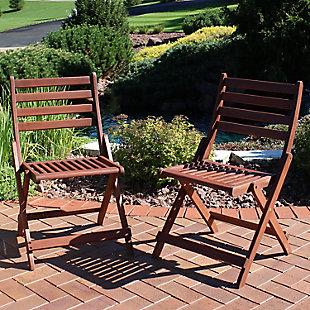 Sunnydaze Outdoor Meranti Wood Folding Bistro Chair (Set of 2), , rollover