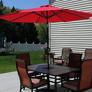 Sunnydaze 9' Outdoor Solar Patio Umbrella, , rollover