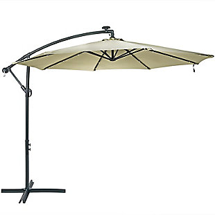 Sunnydaze Outdoor Offset Solar LED Patio Umbrella, , large