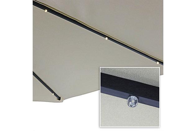 Sunnydaze Outdoor Offset Solar LED Patio Umbrella, , large